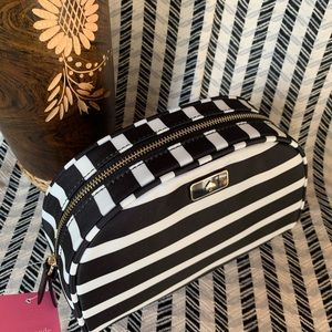 Medium dawn cosmetic stripe nylon Kate spade black